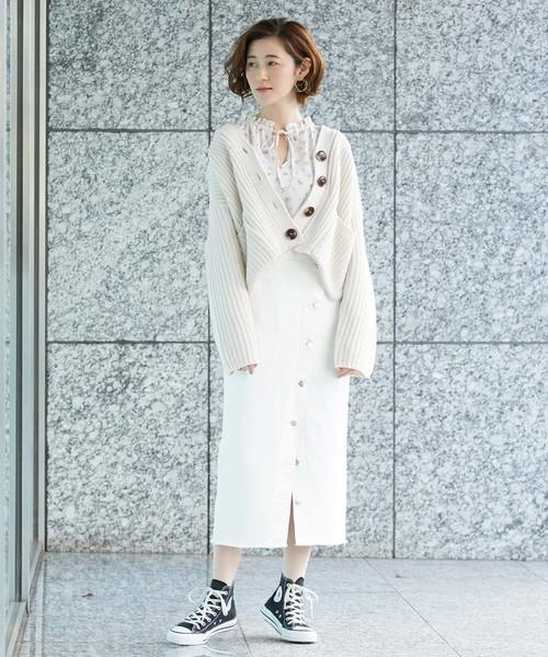 [ROPE' PICNIC] 【WEB限定】【Lee(リー)】ボタンスリットスカート