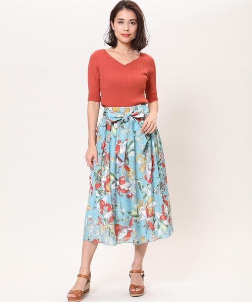 [SUPERIOR CLOSET] フラワープリントギャザースカート