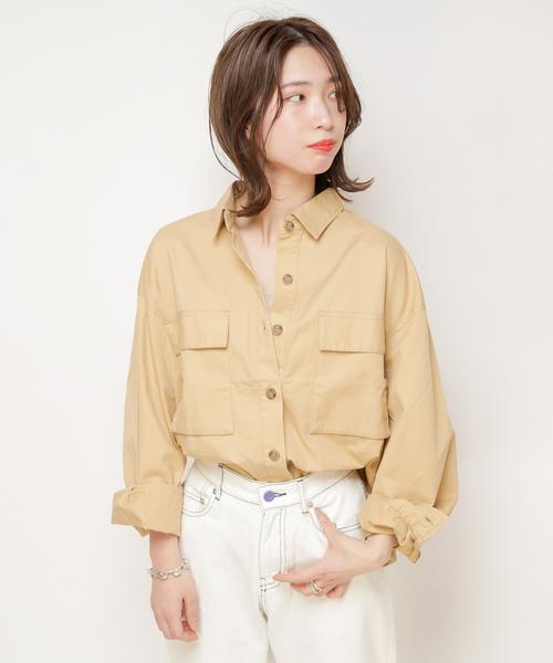 [CIAOPANIC] CPOシャツ/綿ツイルフラップポケット付きシャツ/ビッグシルエット