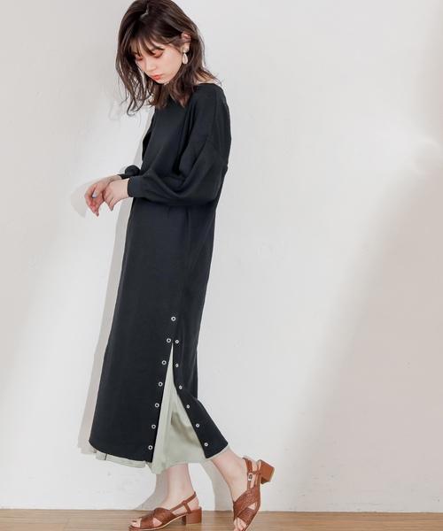 [natural couture] スナップボタン付ワッフルワンピース