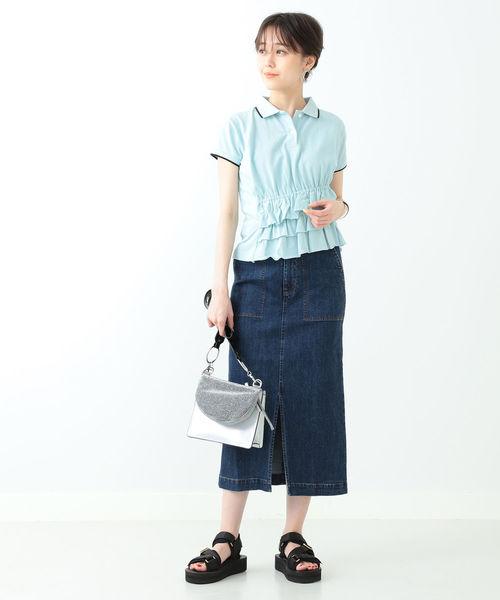 [BEAMS WOMEN] Ray BEAMS / カノコ アシメ ギャザー ポロシャツ