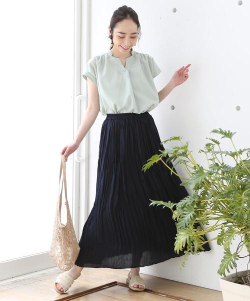 [coen] 【WEB限定カラー⇒グリーン】クリンクルプリーツロングスカート