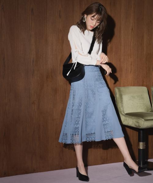 [Andemiu] 【カーキWEB限定】キリカエレーススカート