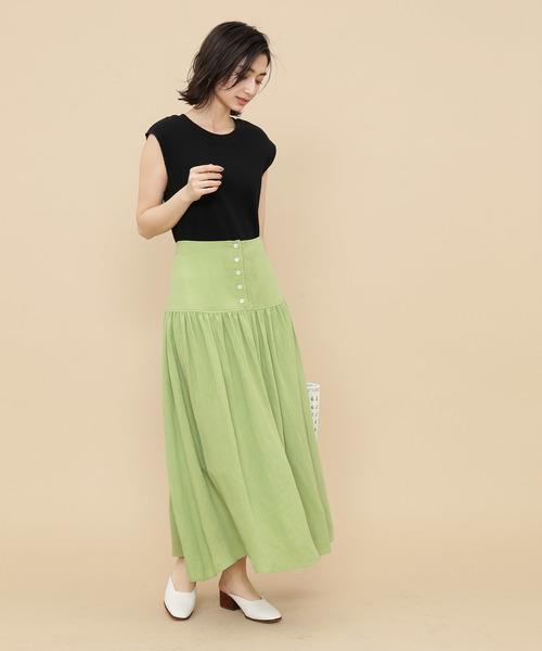 [ADAM ET ROPE'] 【WEB限定】フロントボタンロングスカート