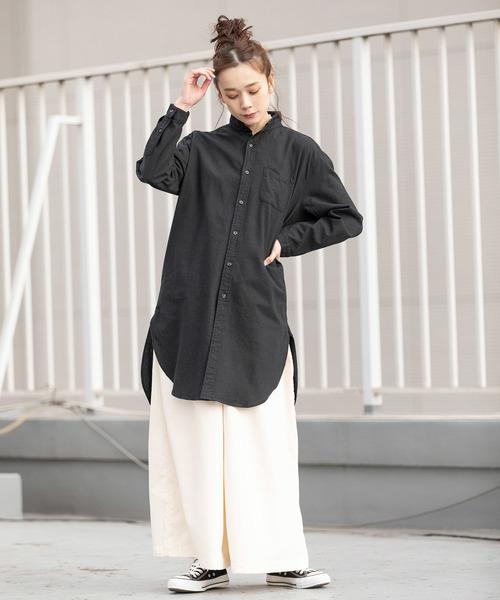 [ROOP TOKYO] 国産 ソフトリネンキャンバス ノーカラーロングシャツ