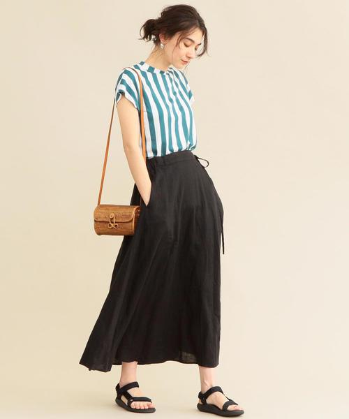 ウォッシャブルフレンチ[BEAUTY&YOUTH UNITED ARROWS]リネンリボンマキシスカート