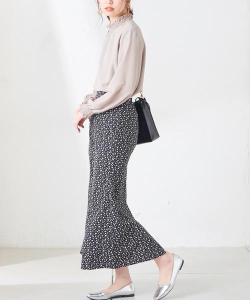 [natural couture] 小花柄マーメイドフレアスカート