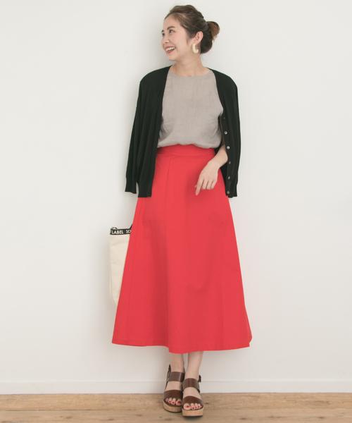 チノフレアロングカラースカート