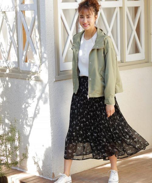 [INGNI] 花柄シフォンプリーツスカート