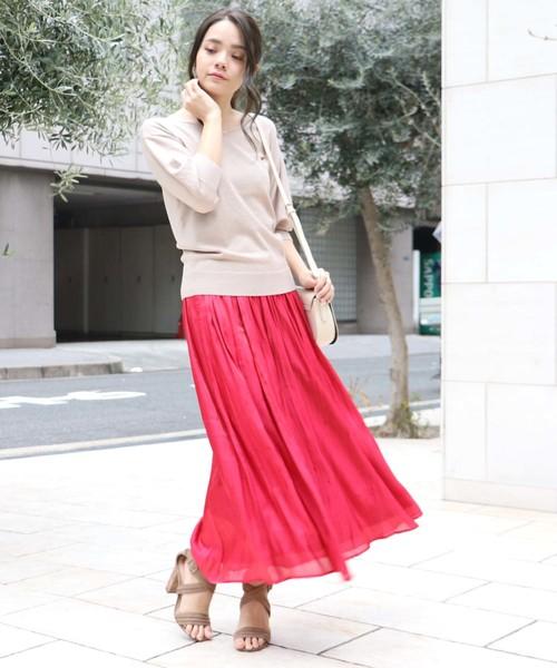 [HER CLOSET] 【HERCLOSET】サテンギャザースカート
