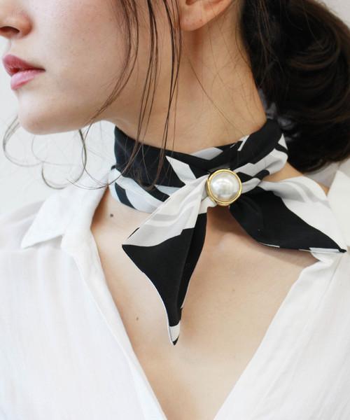 パールリングパーツ付きスカーフネックレス