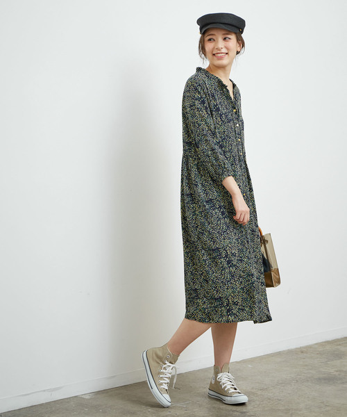 【2WAY】花柄ドットワンピース