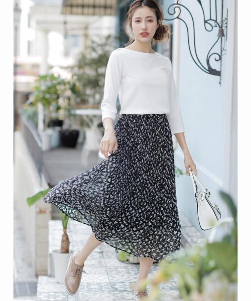 単色花柄シフォンプリーツ/スカート