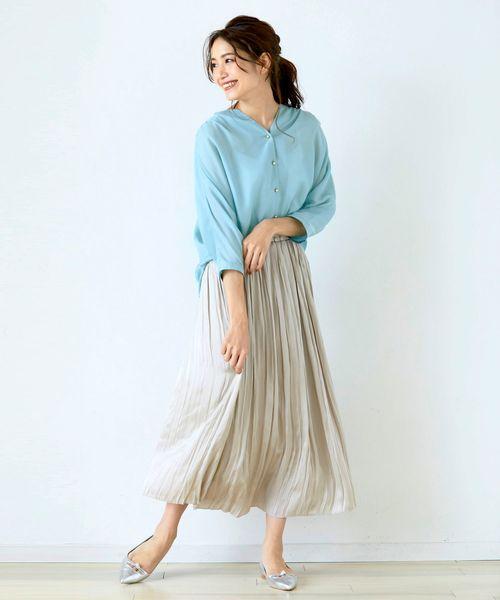 [Perle Peche] ヴィンテージサテンプリーツスカート