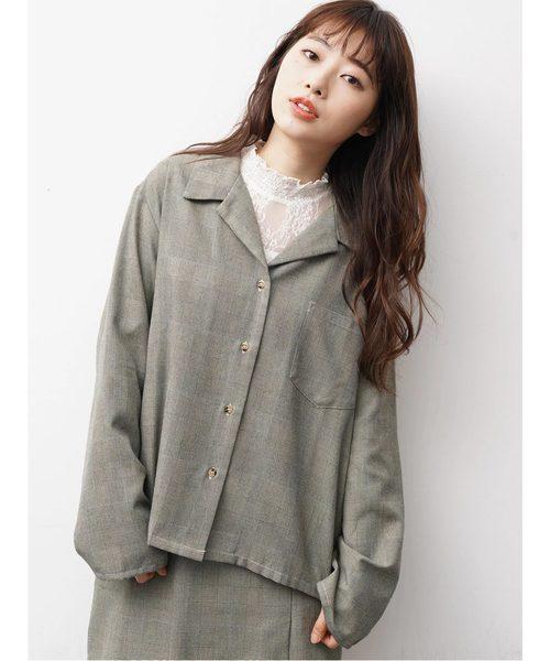 [E hyphen world gallery] グレンチェックビッグシャツジャケット 〇