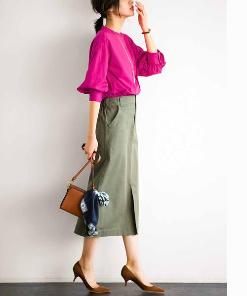 らくちんストレッチ素材のロングタイトスカート