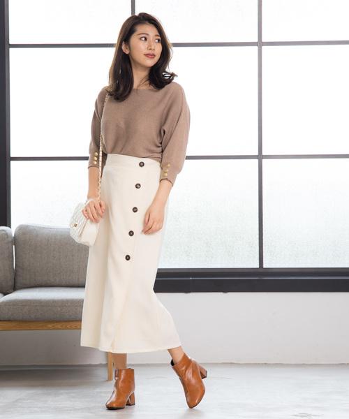 [210nouve] フロントボタンラップスカート