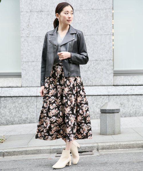 [LEPSIM] ムジガラギャザースカート 821979