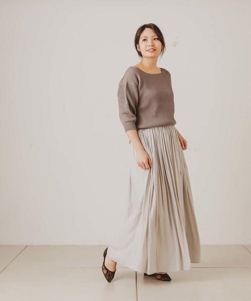 [OUVRAGE CLASSE] サテンギャザーマキシスカート
