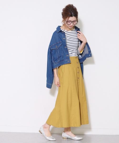 [reca] 綿プリペラフロントボタンフレアスカート