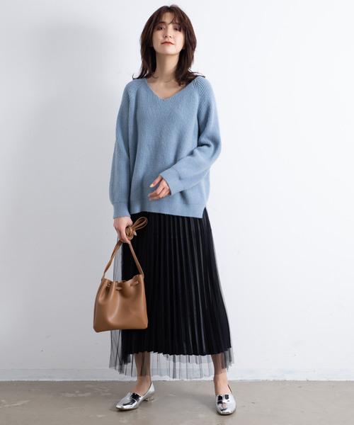 AUNT MARIE'S サテンチュールプリーツスカート