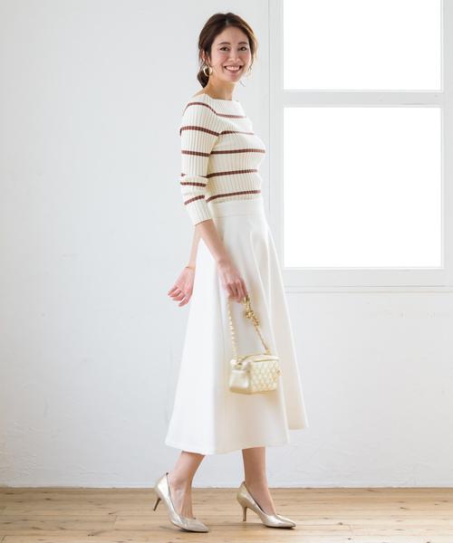 [Loungedress] ダブルクロスフレアスカート