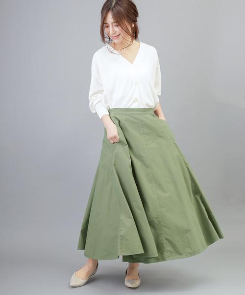 [MERVEILLE H.] 製品染め タイプライター フレア マキシスカート