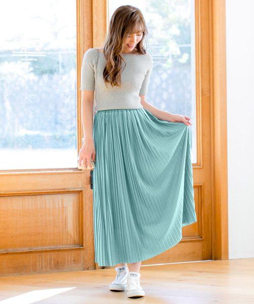 [kobelettuce] カットソー素材プリーツマキシスカート