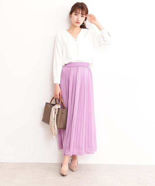 [N.(N. Natural Beauty Basic)] ◆サテンプリーツスカート