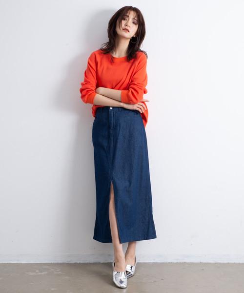 AUNT MARIE'S デニムツイルロングタイトスカート