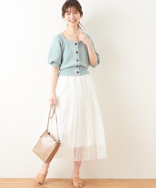 [natural couture] ボリューム袖2WAYショートカーディガン