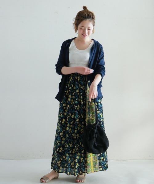 [NOMBRE IMPAIR] パネルフラワープリント マキシスカート