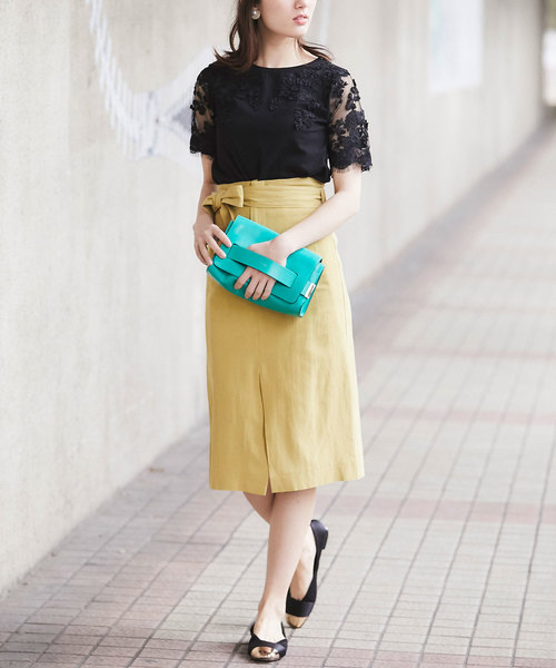 [tocco closet] リネンタイトスカート