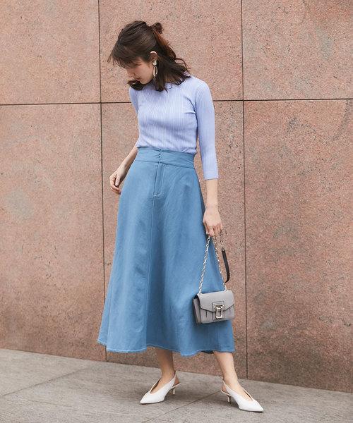 [tocco closet] リネンフレアマキシスカート