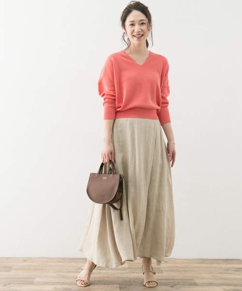 [URBAN RESEARCH ROSSO WOMEN] F by ROSSO リネンラップ風ロングスカート