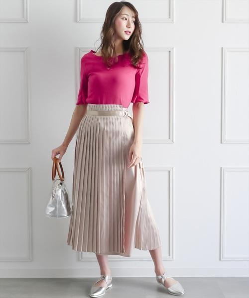 [clear] サテンプリーツロングスカート