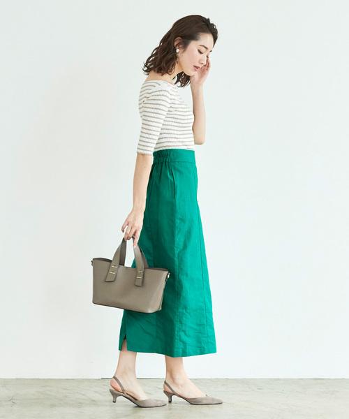 麻混ハイウエストタイトスカート