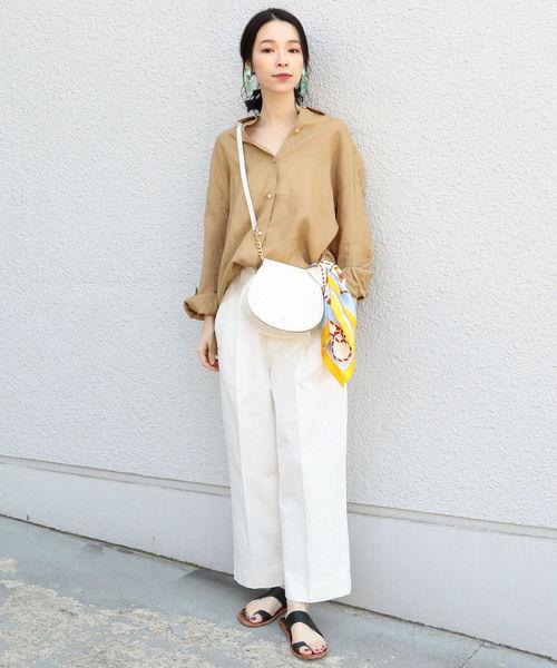 [SHIPS for women] PrimaryNavyLabel:バックビッグポケットパンツ white