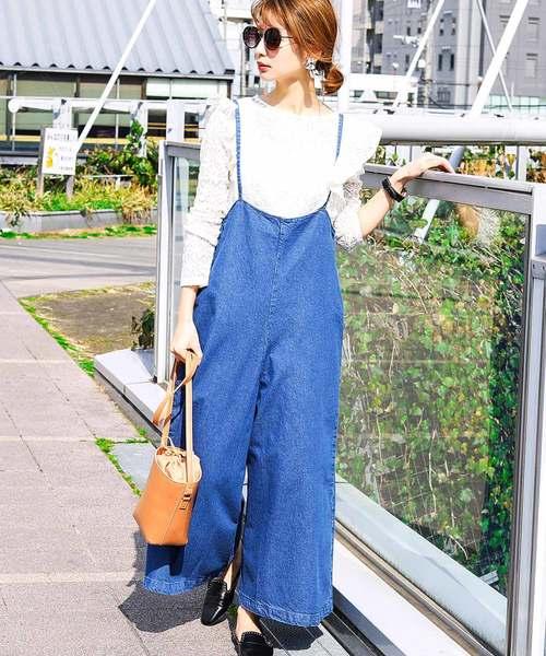 [Fashion Letter] デニムキャミワイドサロペット