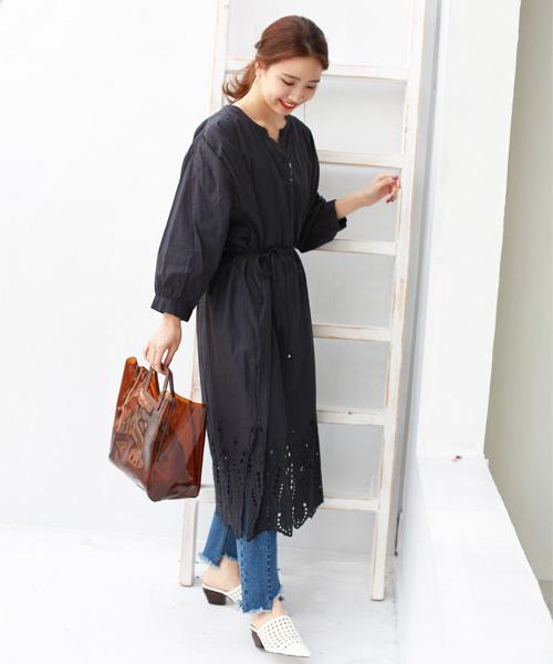 [REAL CUBE] 裾カットワーク刺繍コットンワンピース