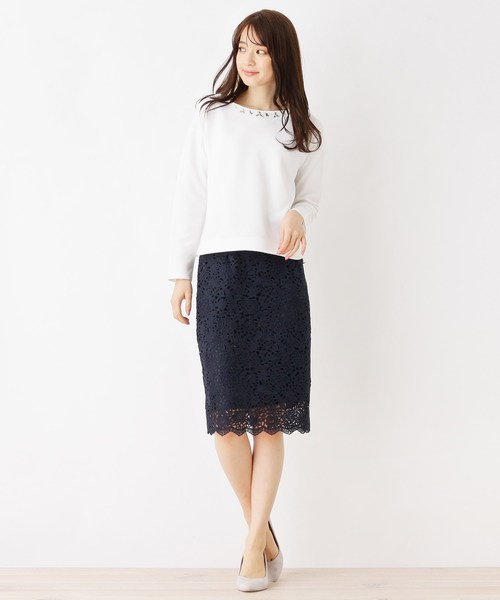 [index] 【洗濯機洗いOK】レースミモレタイトスカート