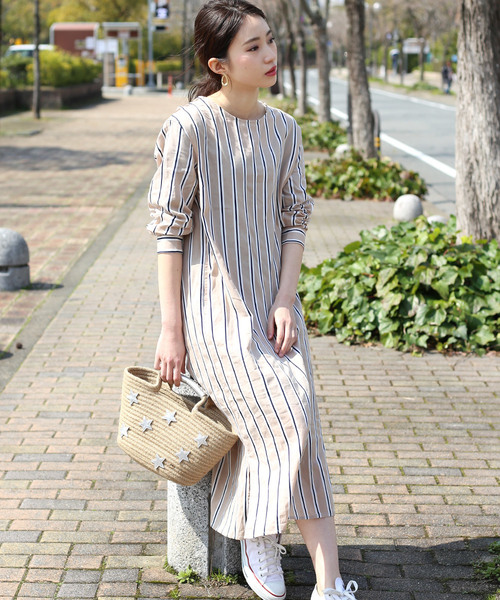[Bou Jeloud] 繻子(しゅす)織りスストライプワンピース