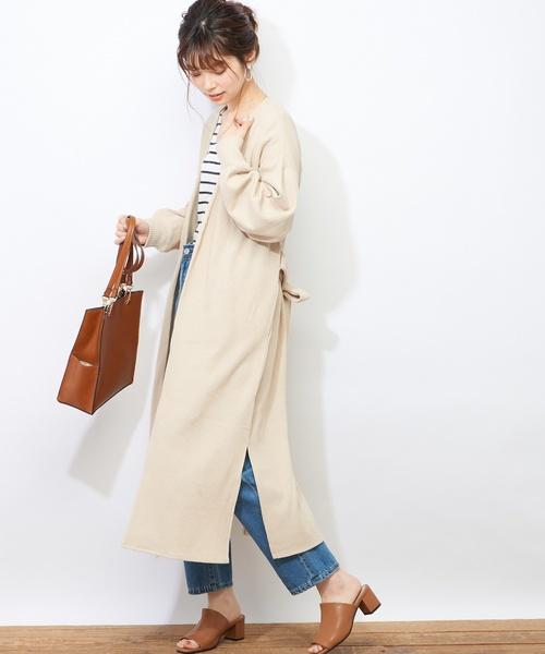 [natural couture] ベルト付きロングワッフルカーディガン
