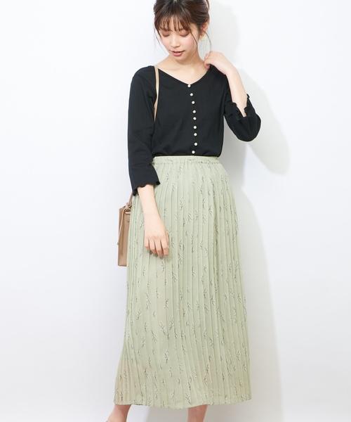 [natural couture] パールいっぱいテレコTシャツ
