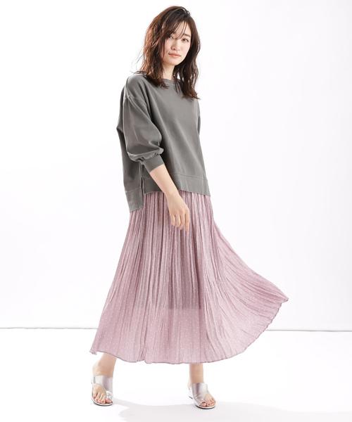 [Discoat] ドットプリーツ ロングスカート