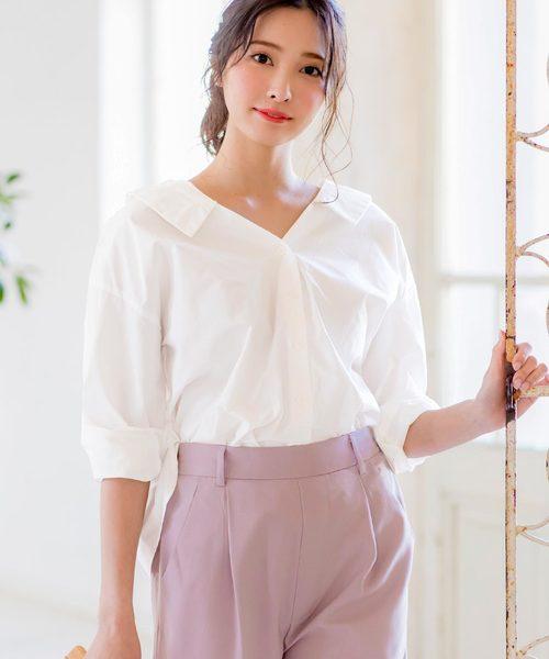 [kobelettuce] 抜き衿orオフショルダー2wayコットンシャツ