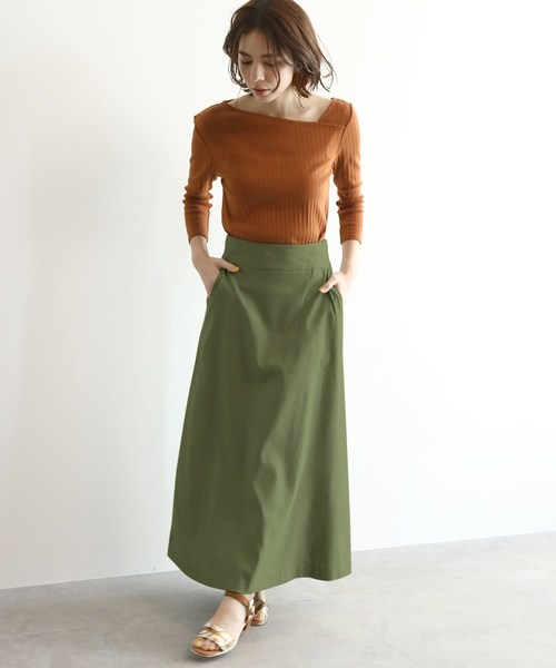 [OZOC] [洗える]リネン調Aラインマキシスカート