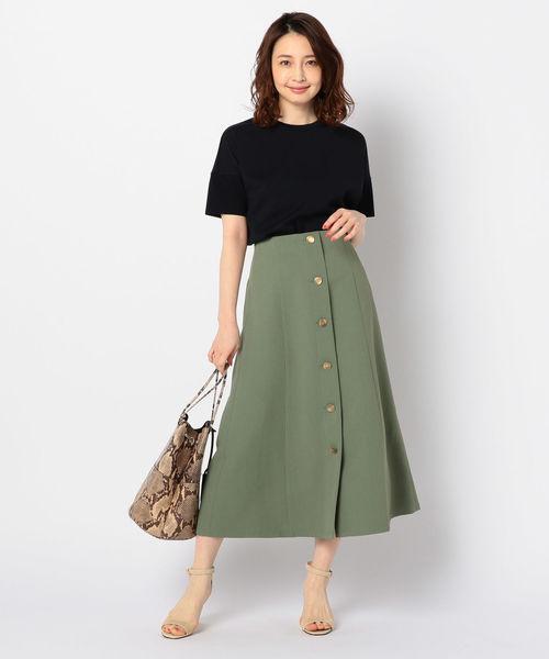 [NOLLEY'S] 【CLASSY 5月号掲載】エアータスランメタル釦ロングスカート