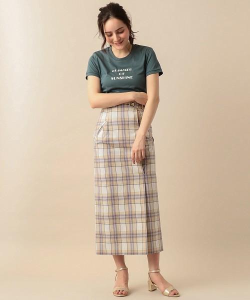 タイプライターチェックタイトロングスカート