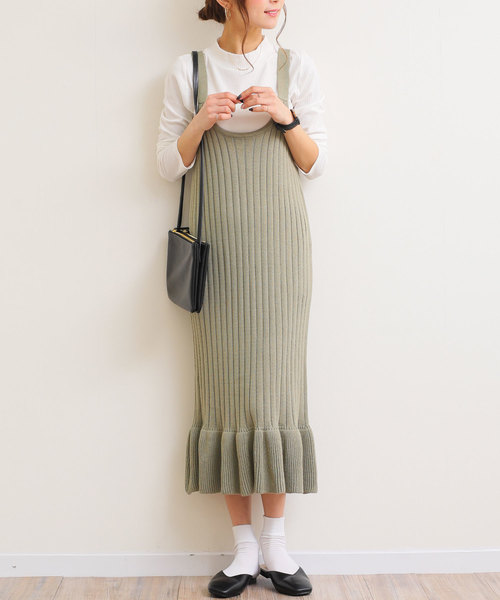 [and Me(アンドミー)] 裾フリルロング丈リブニットキャミワンピース